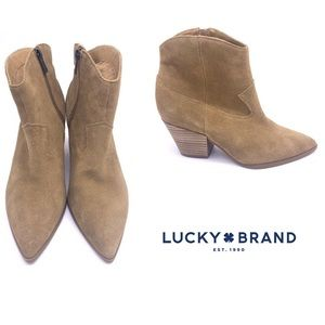 Lucky Brand Ellamy Camel Brown Suede Booties | 10